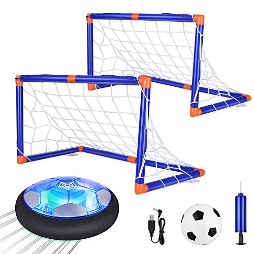 Anpro Hovering Football Set, with Inflatable Football and Goal,Rechargeable Indoor Game Ball Set, Buoyancy Sport with Football Led Lights,Football Gifts for Boys and Girls