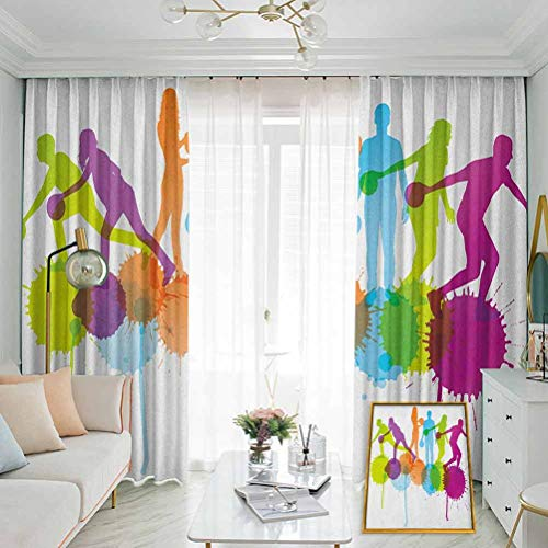 Annery Bowling Party Hook up Curtain Player Silhouettes Throwing Ball with Big Color Splatters Activity Fun Theme for Bedroom,Kindergarten,Living Room W52 x L95 Inch Multicolor