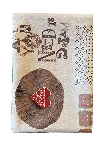 M&O TOVAGLIA No Stiro Stampa Shabby 12 Persone Love IS Sweet Variante Rossa Idea Regalo per LA Festa degli Innamorati