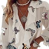 Charmlinda Camisa casual con cuello en V y volantes para mujer, manga larga, botones sueltos, blusa de gasa floral, Mariposa blanca, M