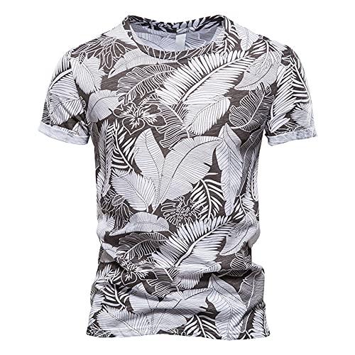 Shirt Playa Hombre Manga Corta Verano Básica con Cuello Redondo Hombre T-Shirt Transpirable Estampado Personalidad Hombre Shirt Tendencia Vintage Clásica Hombre Shirt Ocio C-White L