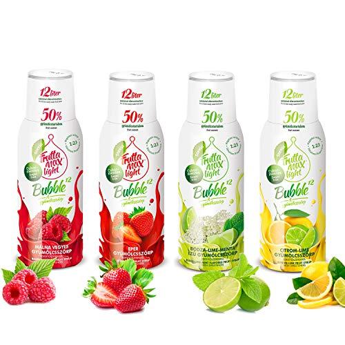 Light Low-Carb Fitness-Sirup Himbeere-Erdbeere-Holunder-Limette-Minze-Zitrone Frutta Max light | Zero-Zucker | mit Stevia | 50% Fruchtanteil 4erPack(4x500ml)