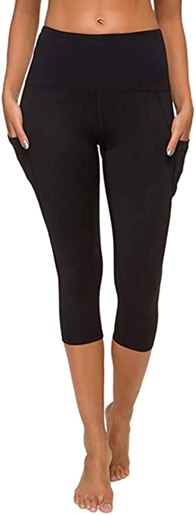 Brand new iLUGU New Orleans Mall Women's Tight Elastic Quick Capris Pocket Solid Color Dry