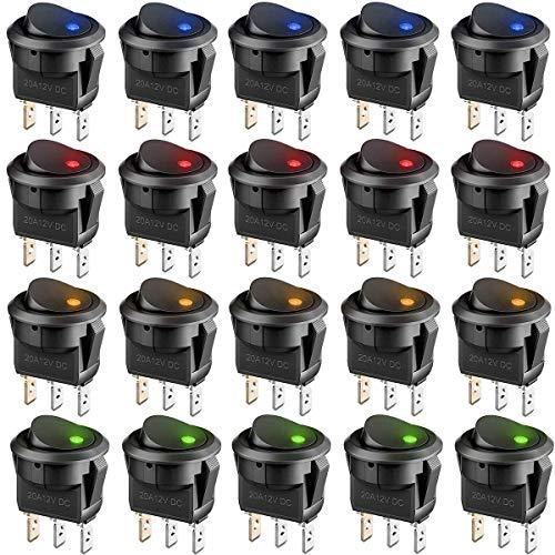 interruptor basculante Fiyuer 20 Pcs mini leds rocker boton interruptor para Coche Motocicleta Bote Marina 12V/20A