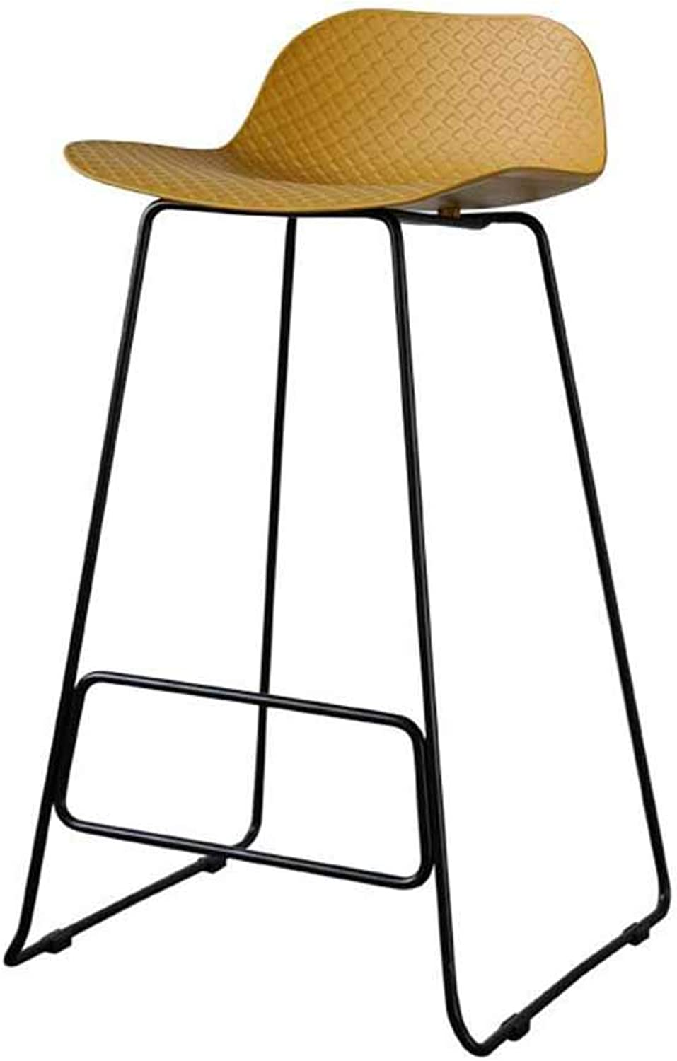 XUERUI Barstools Barstool High Stool Metal Bar Cafe Household Nordic Multifunction Multi-color Optional Strong Stability (color   Black feet Turmeric)