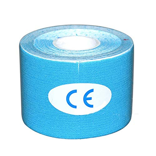 YUXIN Zhaochen Kinesiology Tape-Muskel-Sehnen-Gürtel Grip Gürtel Übung Erholung Elastic Knieschützer Muskel Kneepad Unterstützung Bandage Fitness (Color : Blue, Size : 5CMx5M)
