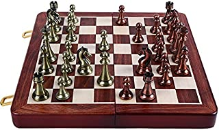 Agirlgle International Chess Set with Folding Wooden Chess Board and Classic Handmade Standard Pieces Metal Chess Set for ...