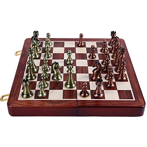 Agirlgle International Chess Set with Folding Wooden Chess Board and Classic Handmade Standard Pieces Metal Chess Set for Kids Adult