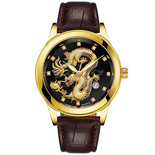 OLUYNG Reloj de Pulsera Relojes Hombre Impermeable Gold Dragon Sculpture Quartz Watch Leather Band Reloj de Pulsera, Negro