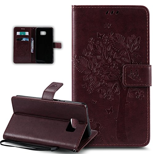 Coque Galaxy S6 Edge,Etui Galaxy S6 Edge, ikasus® Coque Galaxy S6 Edge Bookstyle Étui Housse en Cuir Case, Motif Gaufrage Chat papillon Fleur Floral forme arbre Motif Etui Housse Cuir PU Portefeuille Folio Flip Case Cover Wallet Coque Protection Étui avec Flex Soft Silicone TPU et Fonction Support Fermeture Aimantée Carte de crédit Logement Poches Case Coque Housse Étui pour Samsung Galaxy S6 Edge - Marron