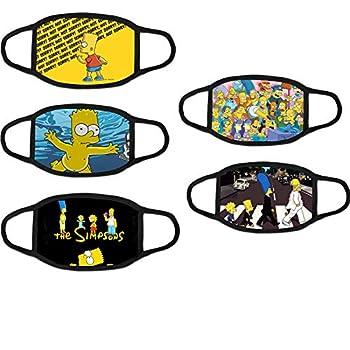 5pcs Cartoon Sim-ps-ons Mask Outdoor Kids/Youth Face Breathable Mask Cloth Dust Protection Bandanas Balaclava Neck