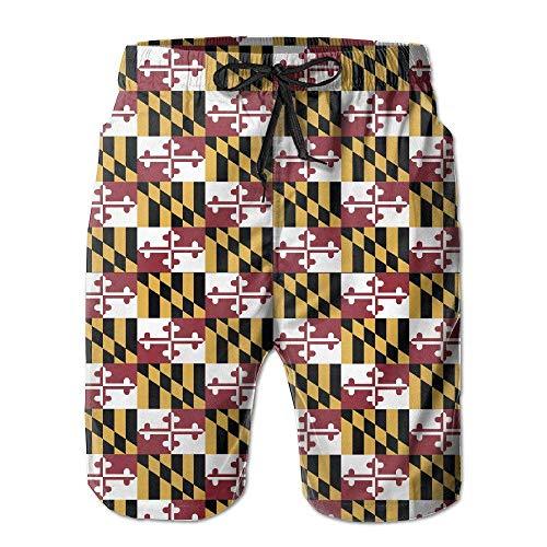 GOSMAO Shorts de Playa con ventilación Ultraligera de Secado rápido con Bandera de Maryland para Hombre