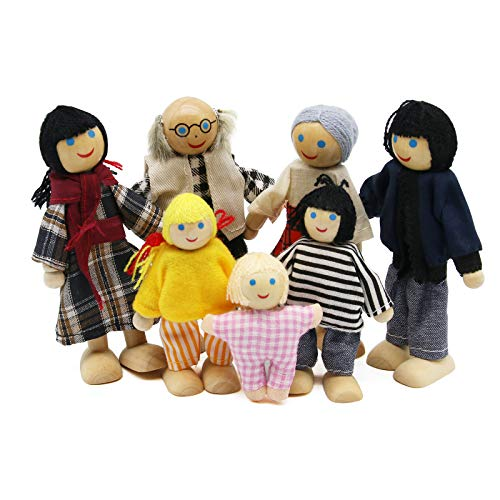 Maison de Poupées en Bois Famille De Poupées en Set, Figurines Maison de Poupee, Jouet pour Enfant