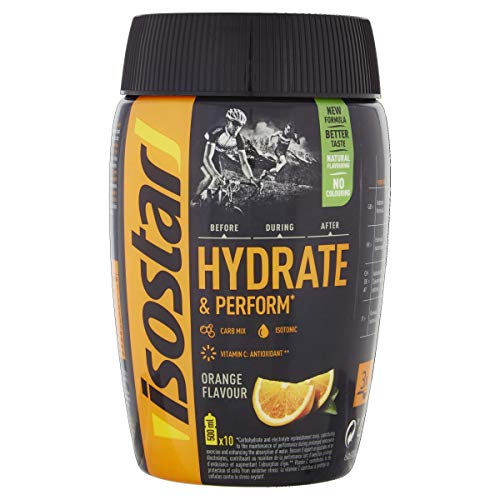Isostar Hydrate & Perform Iso Drink – 400 g isotonisches Getränkepulver – Elektrolyt Pulver zur Unterstützung der sportlichen Leistungsfähigkeit – Orange