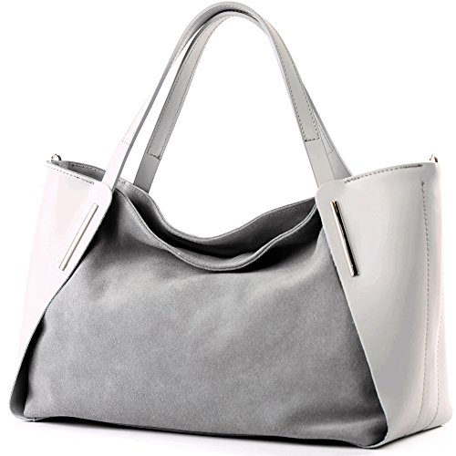 modamoda de - T126 - ital. Shopper Tragetasche Leder/Wildleder, Farbe:Grau