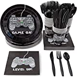 Video Game Party Supplies, Disposable Tableware Set (Serves 24, 144 Pieces) for Boys Birthday