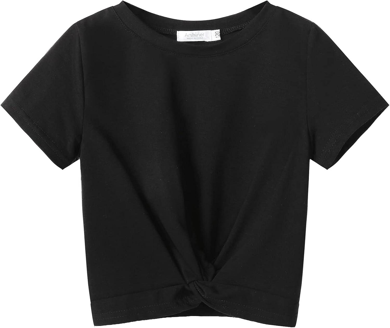 Arshiner Girls Casual Tie Dye Short-Sleeve T-Shirt Summer Twist Front Tunic Tee Tops