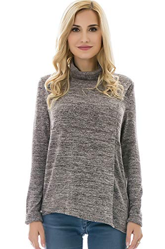 Bearsland Women's Maternity Clothes Comfy Long Sleeves Breastfeeding Shirts and Nursing Tops,highbrown,M