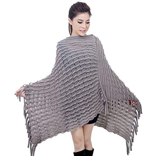 AHUIOPL Tri-Color Knit Warm Winter Poncho Elegant Häkel Schal Damen Quaste Schal Weiblich Knit Schal Winter Damen Mantel Poncho