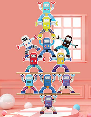 BESTING Balancing Stacking Blocks Robot Parent-Child Children's Educational Balance Wooden Stacking Acrobatic Troupe Interlock Decompression Preschool Toys Balancing Games (HJ014)