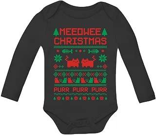 Tstars Meeowee Christmas Ugly Sweater - Cute Xmas Infant Baby Long Sleeve Bodysuit