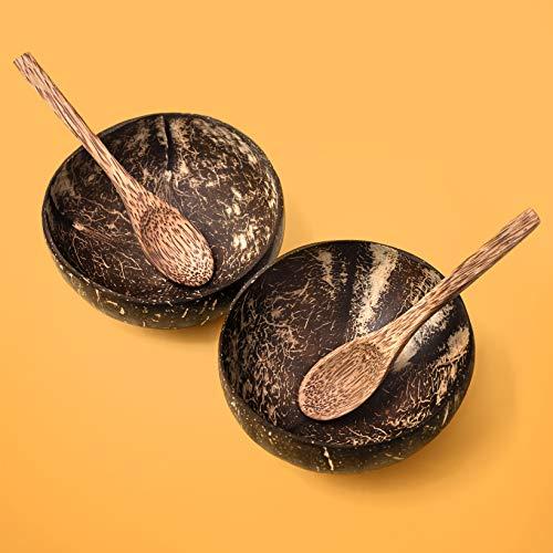 Precorn - Juego de 2 cuencos de coco y cuchara, cuencos para ensalada