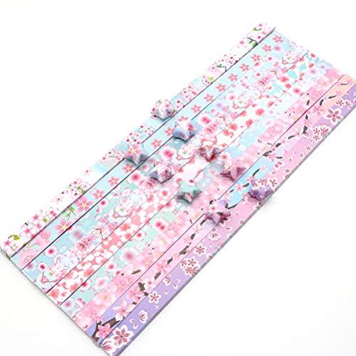 Sakura Star Origami Lucky Star - Papel hecho a mano con cinco puntas, papel de estrella apilado de doble cara (11 paquetes de 1320 hojas)