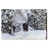 KIMDFACE Rompecabezas Puzzle 1000 Piezas,Escena del Paseo del Tren del Bosque de la Nieve del Invierno. Vista del Viaje en Tren de Invierno,Puzzle Educa Inteligencia Jigsaw Puzzles para Niños Adultos