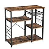 VASAGLE ALINRU Kitchen Baker's Rack, Coffee Bar with Wire Basket 6 Hooks Microwave Oven Stand Metal Frame Wood Look, 35.4', Rustic Brown