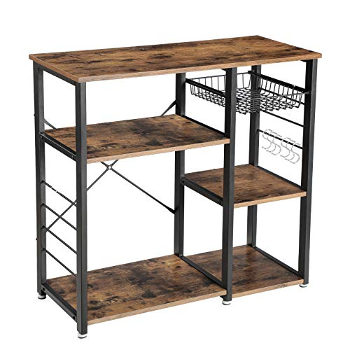 VASAGLE ALINRU Kitchen Baker's Rack, Coffee Bar with Wire Basket, 6 Hooks, 33'H, Rustic Brown