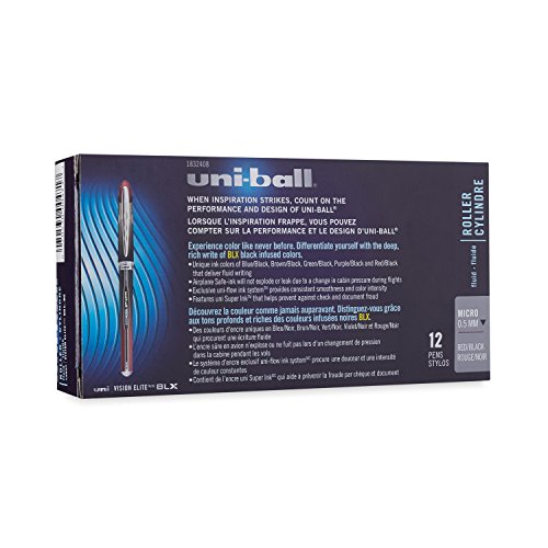 uni-ball Vision Elite BLX Infusion Rollerball Pens, Micro Point (0.5mm), Red/Black, 12 Count Photo #5