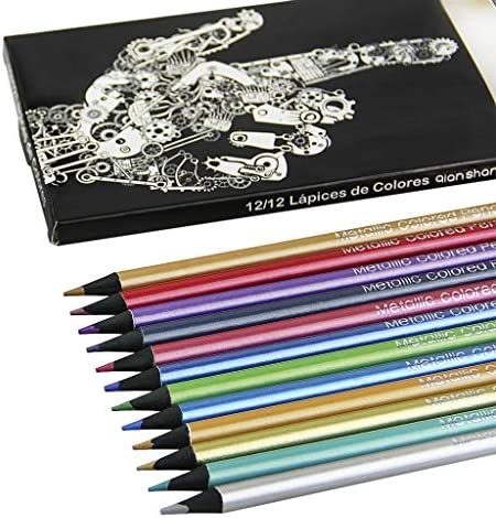 12PCS Metallic Colored Pencils Assorted Coloring Pencil Set 0 3MM Glitter Drawing Pencils Graphic product image