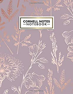 Cornell Notes Notebook: Pretty Metallic Rose Gold Cornell Note Paper Notebook. Cute Girly Large College Ruled Medium Lined Journal Note Taking System for School and University.