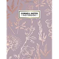 Cornell Notes Notebook: Pretty Metallic Rose Gold Cornell Note Paper Notebook. Cute Girly Large...