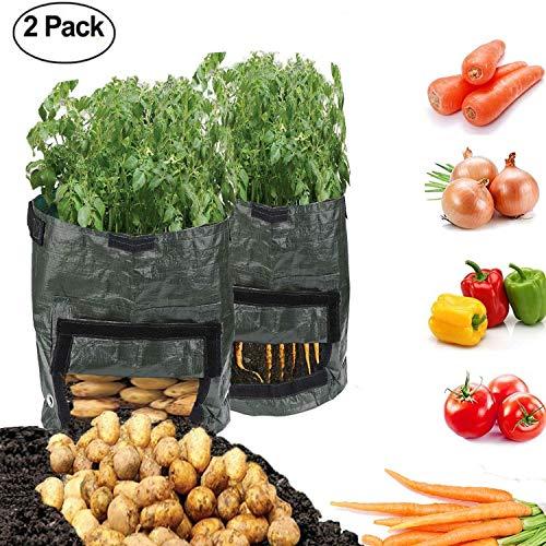QYWSJ 2 Pcs Sacs de Culture de Pomme de Terre, Sac de Culture de LéGumes de 10 Gallons Velcro pour FenêTre, Tissu Double-Couche Qualité SupéRieure avec Sangle Pomme de Terre/Carotte