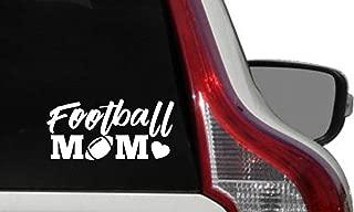Mom Football Heart Car Vinyl Sticker Decal Bumper Sticker for Auto Cars Trucks Windshield Custom Walls Windows Ipad Macbook Laptop Home and More (WHITE)