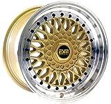 ESM-002R Wheels Rims GOLD Machined Lip 15x7 15' 4x100 5x100 +15 cb 57.1 ESM Wheels