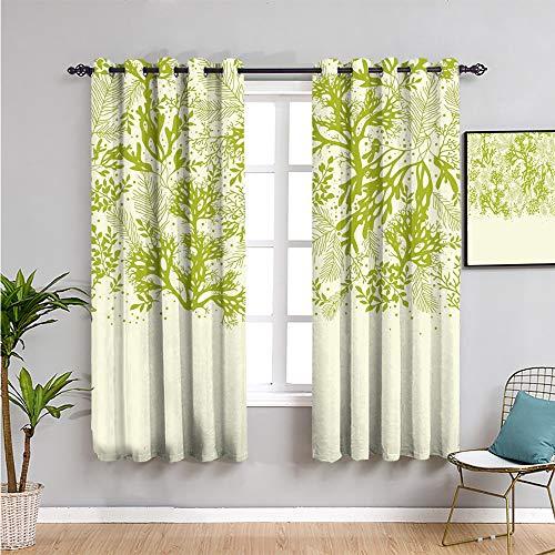 Pcglvie Cortinas opacas para ventana, 160 cm de largo, diseño de plantas submarinas abstractas con corales de algas oceánicas, impresión repetible, uso amarillo, verde y crema de 52 x 63 pulgadas