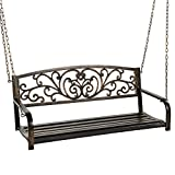Best Choice Products 2-Person Metal Outdoor Porch Swing, Hanging Steel Patio Bench for Garden Deck w/Floral Accent, 485lb Weight Capacity - Bronze
