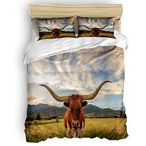 Big buy store Cattle Plants 4 Piece Duvet Cover Set Nature Landscape Bed Sheets Quilt Cover for Kids/Adults Bedroom Decoration Full Size