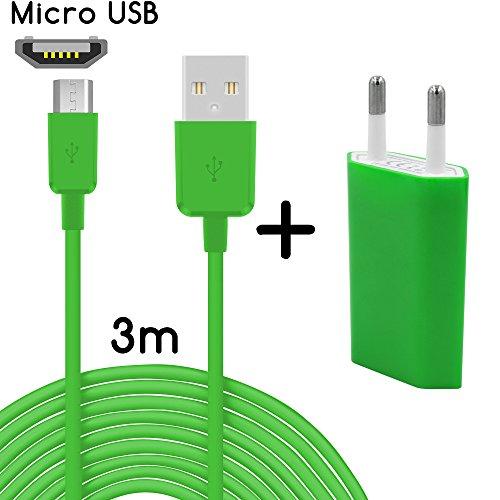 26 Micro USB + bloc d'alimentation Sony Xperia M4 Aqua 3m Grün + Netzteil