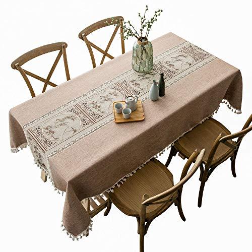 Stafeny - Mesa de comedor y mantel de algodón y lino rectangular con borlas bordadas, mesa de café y mantel de mesa, 140 x 180 cm