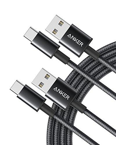 Anker 高耐久ナイロン USB-C & USB-A 2.0 ケーブル【2本セット / 2重編込の高耐久ナイロン素材】Galaxy S10 / S10+ / S9 / S9+ / Note 8、Xperia XZ3他対応 (ブラック 1.8m)