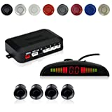 COCAR Car Auto Vehicle Reverse Backup Radar System with 4 Parking Sensors Distance Detection + LED Distance Display + Sound Warning - Black