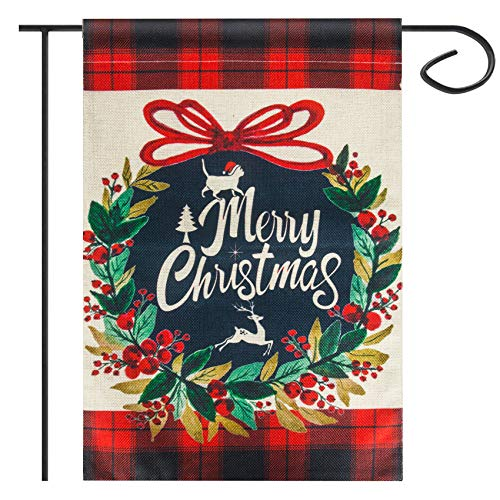 Merry Christmas Garden Flag Double Sided House Yard Decorative, Winter Rustic Quote House Ya6rd Outside Flag Xmas Pickup, Holiday Decorations, Horses Seasonal Outdoor Flag 12.5 x 18 Inch
