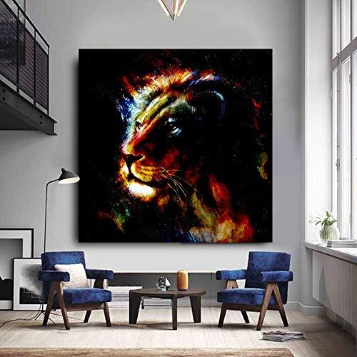 KWzEQ Leinwanddrucke Abstrakte Löwentierwandkunstbildwohnkultur für Wohnzimmerplakate40x40cmRahmenlose Malerei