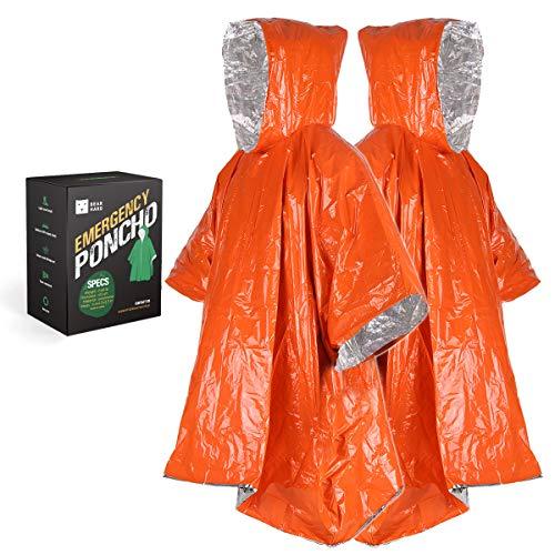 Bearhard Emergency Blanket Rain Poncho  2 Pack Ultralight Waterproof Thermal Survival Space Blanket Ponchos with Hood for Camping Hiking or Emergency Situations
