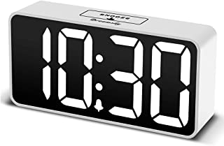 DreamSky Compact Digital Alarm Clock with USB Port for Charging, Adjustable Brightness Dimmer, Bold Digit Display, Adjustable Alarm Volume, Snooze,12/24Hr Display, Bedside Alarm Clock.