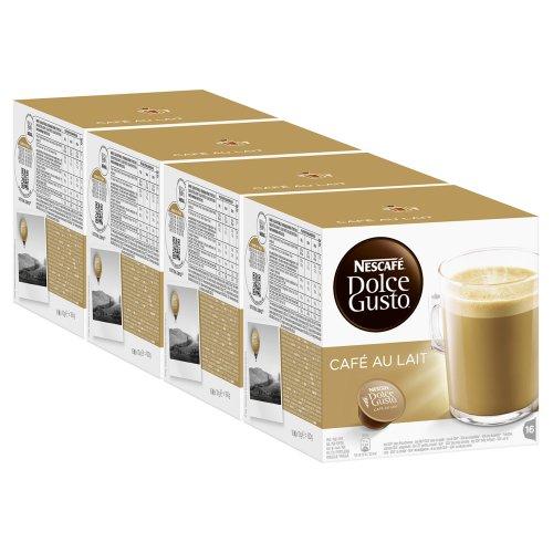 Nescafé Dolce Gusto Café au lait, Kaffee, Milchkaffee, Kaffeekapsel, 4er Pack, 4 x 16 Kapseln