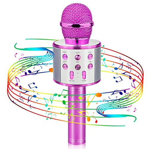 Popular Toys for 4-12 Year Old Girls, Viposoon Wireless Bluetooth Microphone for Kids Music Toy for 5-11 Year Old Kids Girl Party Gift Age 4-12 Girl